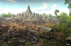 3D drawings depicting Angkorian era by North Korean artists were displayed at the Angkor Panorama Museum, in Sieam Reap province. (Pin Sisovann/VOA Khmer)
