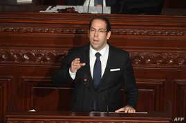 Tunisian Prime Minister Youssef Chahed addresses the parliament on the country's anti-corruption fight on July 20, 2017, in Tunis.