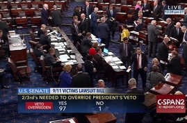 This frame grab from video provided by C-SPAN2, shows the floor of the Senate on Capitol Hill in Washington, Sept. 28, 2016, as the Senate acted decisively to override President Barack Obama's veto of Sept. 11 legislation.