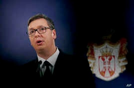 Serbian President Aleksandar Vucic speaks during a press conference in Belgrade, Dec. 3, 2018.