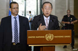 United Nations (UN) General Secretary Ban Ki-moon (C) speaks next to the UN Special Envoy for Yemen Ismail Ould Cheikh Ahmed on June 15, 2015 during a press conference at the UN offices in Geneva during the opening of Yemen peace talks.