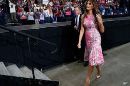 First lady Melania Trump walks from the stage after introducing her husband, President Donald Trump, at a rally at the Covelli Centre in Youngstown, Ohio, July 25, 2017.