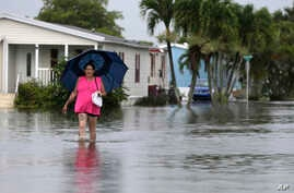 FILE - A woman walks near her flooded neighborhood in Davie, Florida, June 7, 2017. With Hurricane Irma bearing down on Florida, data shows that across the peninsula's 38 coastal counties, just 42 percent of homes in potential hazards zones are insur