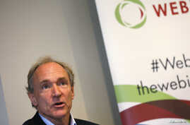 FILE - World Wide Web founder Tim Berners-Lee speaks during a news conference in London Dec. 11, 2014.