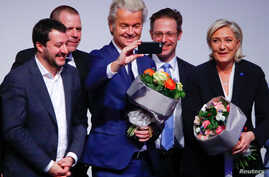 Netherlands' Party for Freedom (PVV) leader Geert Wilders takes a picture during a European far-right leaders meeting to discuss about the European Union, in Koblenz, Germany, Jan. 21, 2017.