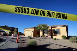 Police tape blocks off the home of Stephen Craig Paddock on Oct. 2, 2017, in Mesquite, Nev.