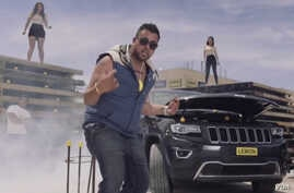 This screengrab from a YouTube video shows Australian small businessman Teg Sethi who gave a negative review of his Jeep in a funny, musical video.