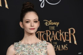 "Mackenzie Foy, a cast member in ""The Nutcracker and the Four Realms,"" poses at the premiere of the film at the Dolby Theatre in Los Angeles, Oct. 29, 2018."