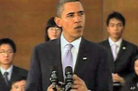 President Obama during a town-hall meeting with college students in Shanghai (Nov 2009