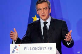 French conservative Francois Fillon holds a press conference at his campaign headquarters in Paris, France, Monday, Feb. 6, 2017.
