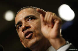 U.S. President Barack Obama speaks at the House Democratic Issues Conference in Cambridge, Maryland February 14, 2014.