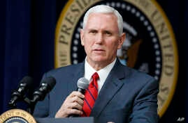Vice President Mike Pence speaks during a town hall with business leaders in the South Court Auditorium on the White House complex in Washington, April 4, 2017.