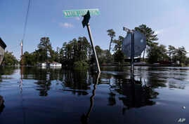 Street signs protrude through floodwaters in the aftermath of Hurricane Florence in Nichols, South Carolina, Sept. 21, 2018.