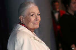 FILE - Actress Vanessa Redgrave poses for photographers upon arrival at the British Independent Film Awards in Londo, Dec. 10, 2017.