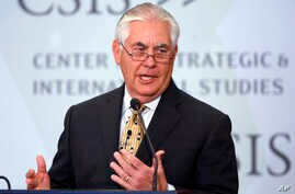 Secretary of State Rex Tillerson speaks at the Center for Strategic and International Studies in Washington, Oct. 18, 2017.
