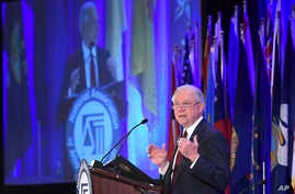 Attorney General Jeff Sessions delivers remarks to the National Association of Attorneys General at their Winter Meeting in Washington, Feb. 27, 2018.