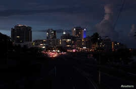 A general view of a blackout during a power outage across several areas in the country, in San Juan, Puerto Rico, September 21, 2016.