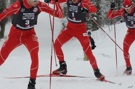 Johnny Spillane (left) leads a parade of three World Champions, Billy Demong and Todd Lodwick (right) at the Olympic Trials at Howelsen Hill in Steamboat Springs, Colorado