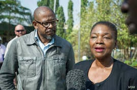 United Nations Under-Secretary-General for Humanitarian Affairs and Emergency Relief Coordinator Valerie Amos (R) and UNESCO Envoy for Peace and Reconciliation Forest Whitaker speak to reporters in South Sudan on Feb. 6, 2015. The two say South Sudan