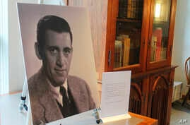 A previously unseen photo of author J.D. Salinger is displayed at the University of New Hampshire in Durham, N.H., Jan. 22, 2019.