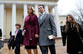 FILE - Donald Trump Jr., wife Vanessa Trump, and their children Donald Trump III, left, and Kai Trump, right, leave St. John's Episcopal Church across from the White House in Washington, Jan. 20, 2017.