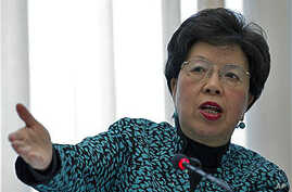 Margaret Chan, Director General of the World Health Organization, delivers her statement during the launch of the global plan to prevent resistance to potent malaria treatment at the WHO headquarters, Geneva, Switzerland, Jan 12, 2011