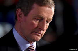 Irish Prime Minister Enda Kenny pauses before speaking to the media at the general election count center in Castlebar, Ireland, Feb. 27, 2016.