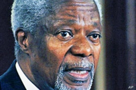 Former UN chief Kofi Annan, who mediated an end to Kenya's 2008 post-election violence attends a press conference on 08, Dec2009 in Nairobi
