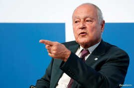 Ahmed Aboul Gheit, Arab League's secretary general, gestures as he speaks at the Rome Mediterranean summit MED 2018 in Rome, Italy, Nov. 22, 2018.