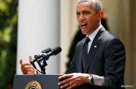President Barack Obama delivers an announcement on the number of U.S. troops that will remain in Afghanistan after the formal troop drawdown at the end of this year, in the White House Rose Garden in Washington, May 27, 2014.