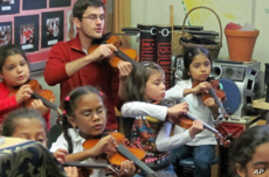 Musician Nathan Schram shares his talents with public school students in New York.