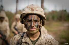 Maria Daume training at the Marine Corps Recruit Depot in Parris Island, S.C. (U.S. Marine Corps photo by Staff Sgt. Greg Thomas)