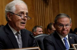U.S. Senate Foreign Relations Committee Bob Corker, R-TN, speaks as ranking member Senator Bob Menendez, D-NJ, looks on during a Senate Foreign Relations Committee hearing on Capitol Hill in Washington, July 25, 2018.