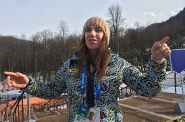 Ukrainian skier Bogdana Matsotska speaks during an interview with the Associated Press at the Sochi 2014 Winter Olympics, Thursday, Feb. 20, 2014, in Krasnaya Polyana, Russia.