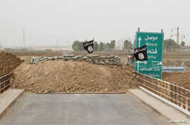 Islamic State flags flutter on the Mullah Abdullah bridge in southern Kirkuk, Iraq, Sept. 29, 2014.
