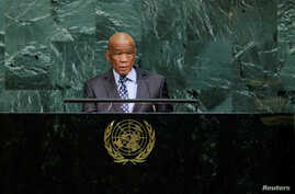 Lesotho's Prime Minister Thomas Thabane addresses the 72nd United Nations General Assembly at U.N. headquarters in New York, Sept. 22, 2017.