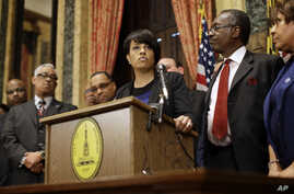 Baltimore Mayor Stephanie Rawlings-Blake speaks in front of local faith leaders at a news conference regarding the death of Freddie Gray, in Baltimore, Maryland, April 24, 2015.