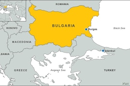 Map of Bulgaria. UNHCR's Bulgarian spokesman Boris Cheshirkov says most refugees assemble in Edina, a Turkish city not far from the Aegean Sea and close to the border with Greece, and with the help of smuggling rings cross over through the green bord