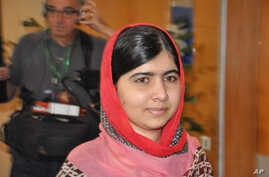 Pakistani activist Malala Yousafzai, who survived being shot by the Taliban because she advocated education for girls, visits Abuja, Nigeria, July 13, 2014.