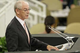President of the European Council Herman Van Rompuy speaks during the 68th session of the General Assembly at United Nations headquarters, Sept. 25, 2013.