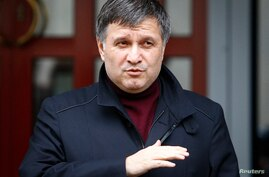 Ukraine's Interior Minister Arsen Avakov speaks during a news conference in front of the ministry office in Kyiv, April 8, 2014.