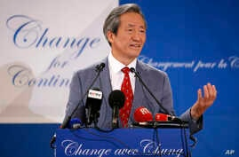 South Korea's Chung Mong-Joon gestures during a press conference in Paris, France, Aug.17, 2015. Chung Mong-Joon announced his candidacy for the upcoming FIFA presidential elections.