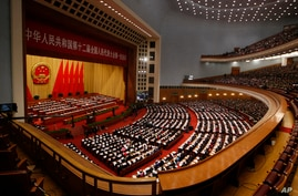 Chinese Premier Wen Jiabao gives the work report at the annual National People's Congress in Beijing's Great Hall of the People, March 5, 2013.