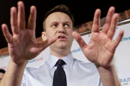 Russian opposition leader Alexei Navalny holds a news conference in his campaign office in St. Petersburg, Russia, Feb. 4, 2017.