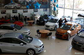Chevrolet vehicles are displayed at the Surman Chevrolet dealership in Mexico City, Jan. 9, 2018.  Domestic car sales in 2017 fell 4.6 percent from a year earlier, according to data from the Mexican Auto Industry Association.