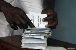 A man searches for his voting card at a polling unit during the presidential election in Cameroon's capital Yaounde, (File photo).