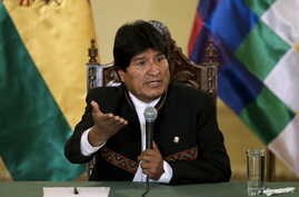 Bolivia's President Evo Morales speaks during a news conference at the presidential palace in La  Paz, Bolivia, Feb. 22, 2016.
