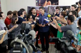 Brazil's presidential candidate for the Workers Party Fernando Haddad speaks with journalists in Sao Paulo, Brazil,  Oct. 3, 2018. Brazil will hold general elections on Oct. 7.
