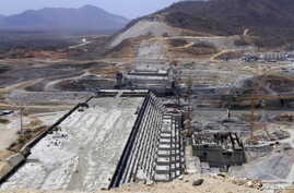 FILE - A general view of Ethiopia's Grand Renaissance Dam, as it undergoes construction, is seen during a media tour along the river Nile in Benishangul Gumuz Region, Guba Woreda, in Ethiopia, March 31, 2015.