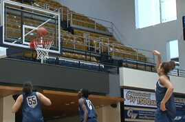 George Washington University's women's basketball team during a practice